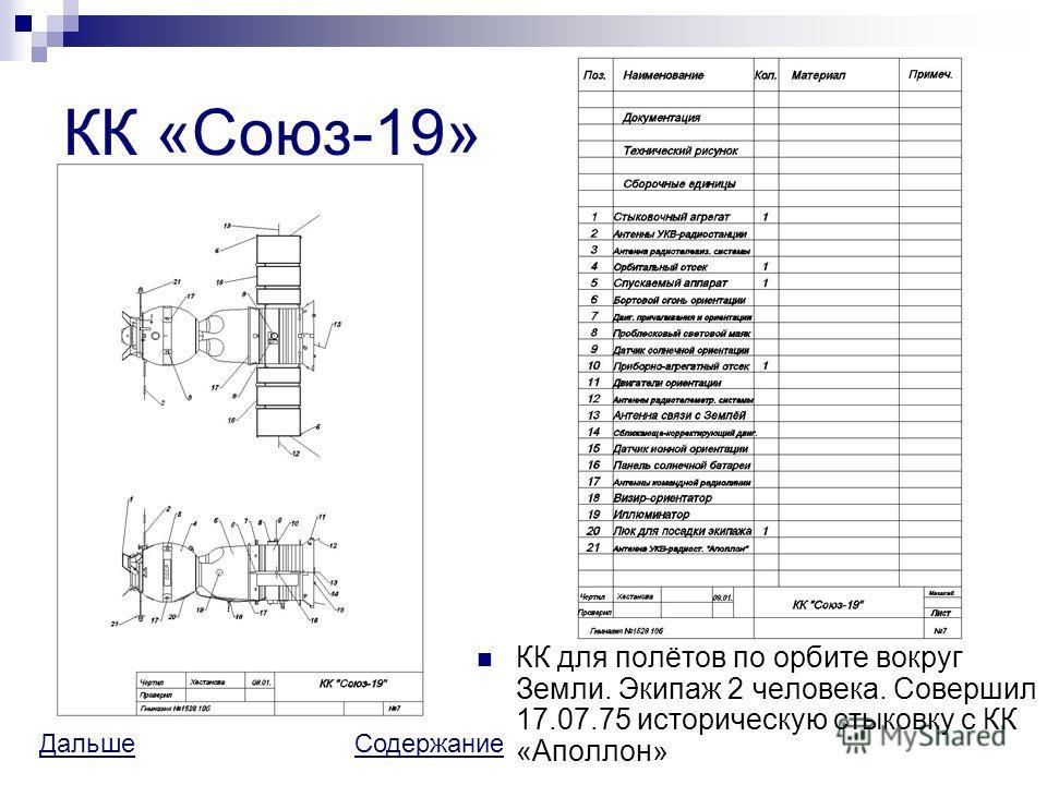 КК «Союз-19» КК для полётов по орбите вокруг Земли. Экипаж 2 человека. Совершил 17.07.75 историческую стыковку с КК «Аполлон» ДальшеДальше СодержаниеСодержание