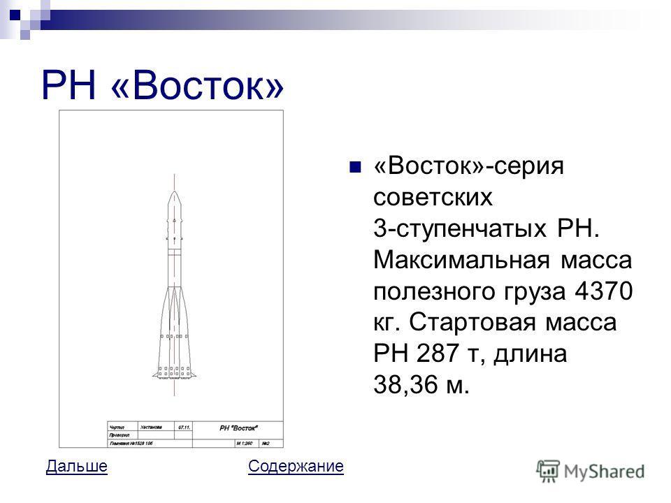 РН «Восток» «Восток»-серия советских 3-ступенчатых РН. Максимальная масса полезного груза 4370 кг. Стартовая масса РН 287 т, длина 38,36 м. ДальшеДальше СодержаниеСодержание