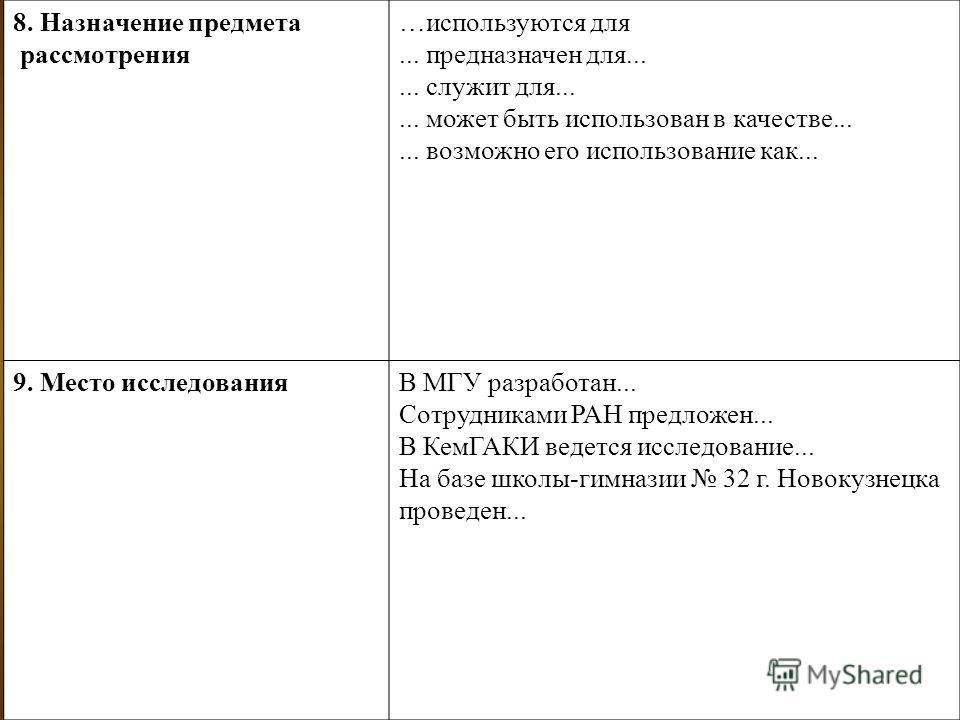 8. Назначение предмета рассмотрения …используются для... предназначен для...... служит для...... может быть использован в качестве...... возможно его использование как... 9. Место исследованияВ МГУ разработан... Сотрудниками РАН предложен... В КемГАК