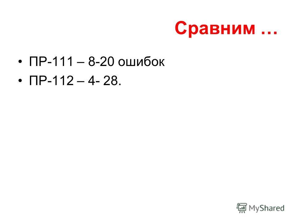 Сравним … ПР-111 – 8-20 ошибок ПР-112 – 4- 28.