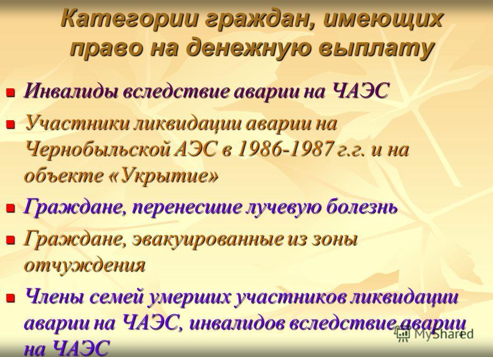 Категории граждан, имеющих право на денежную выплату Инвалиды вследствие аварии на ЧАЭС Инвалиды вследствие аварии на ЧАЭС Участники ликвидации аварии на Чернобыльской АЭС в 1986-1987 г.г. и на объекте «Укрытие» Участники ликвидации аварии на Чернобы