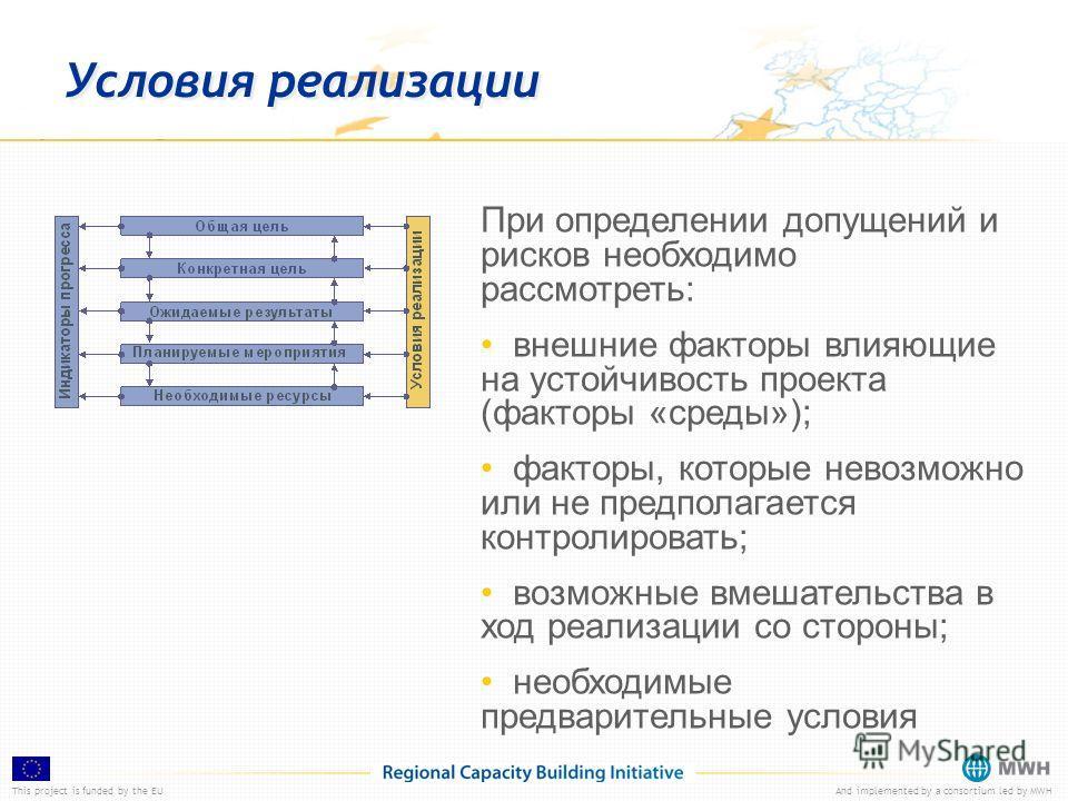 This project is funded by the EUAnd implemented by a consortium led by MWH Условия реализации При определении допущений и рисков необходимо рассмотреть: внешние факторы влияющие на устойчивость проекта (факторы «среды»); факторы, которые невозможно и