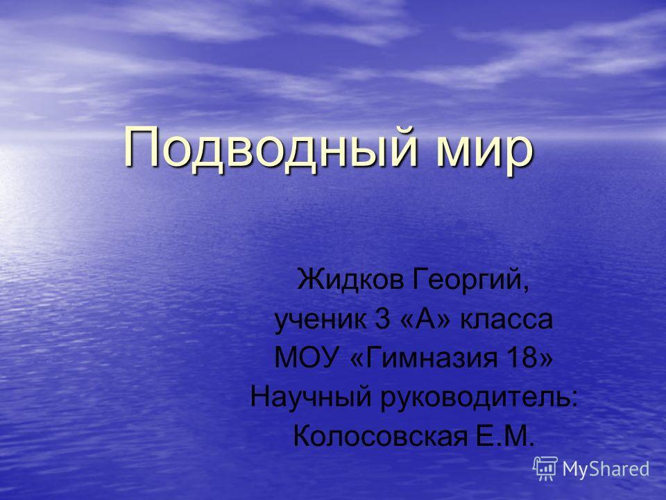 Подводный мир Подводный мир Жидков Георгий, ученик 3 «А» класса МОУ «Гимназия 18» Научный руководитель: Колосовская Е.М.