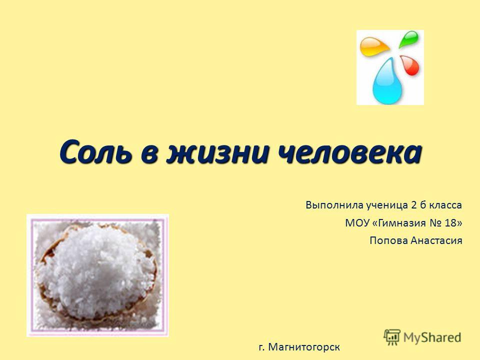 Соль в жизни человека Выполнила ученица 2 б класса МОУ «Гимназия 18» Попова Анастасия г. Магнитогорск