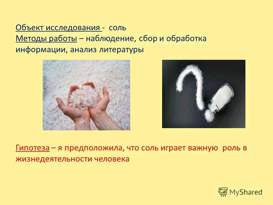 Объект исследования - соль Методы работы – наблюдение, сбор и обработка информации, анализ литературы Гипотеза – я предположила, что соль играет важную роль в жизнедеятельности человека