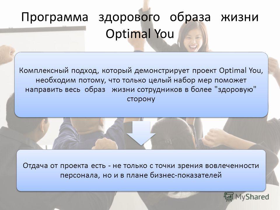 Программа здорового образа жизни Optimal You Комплексный подход, который демонстрирует проект Optimal You, необходим потому, что только целый набор мер поможет направить весь образ жизни сотрудников в более