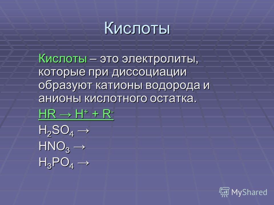 Кислоты Кислоты – это электролиты, которые при диссоциации образуют катионы водорода и анионы кислотного остатка. HR H + + R - H 2 SO 4 H 2 SO 4 HNO 3 HNO 3 H 3 PO 4 H 3 PO 4