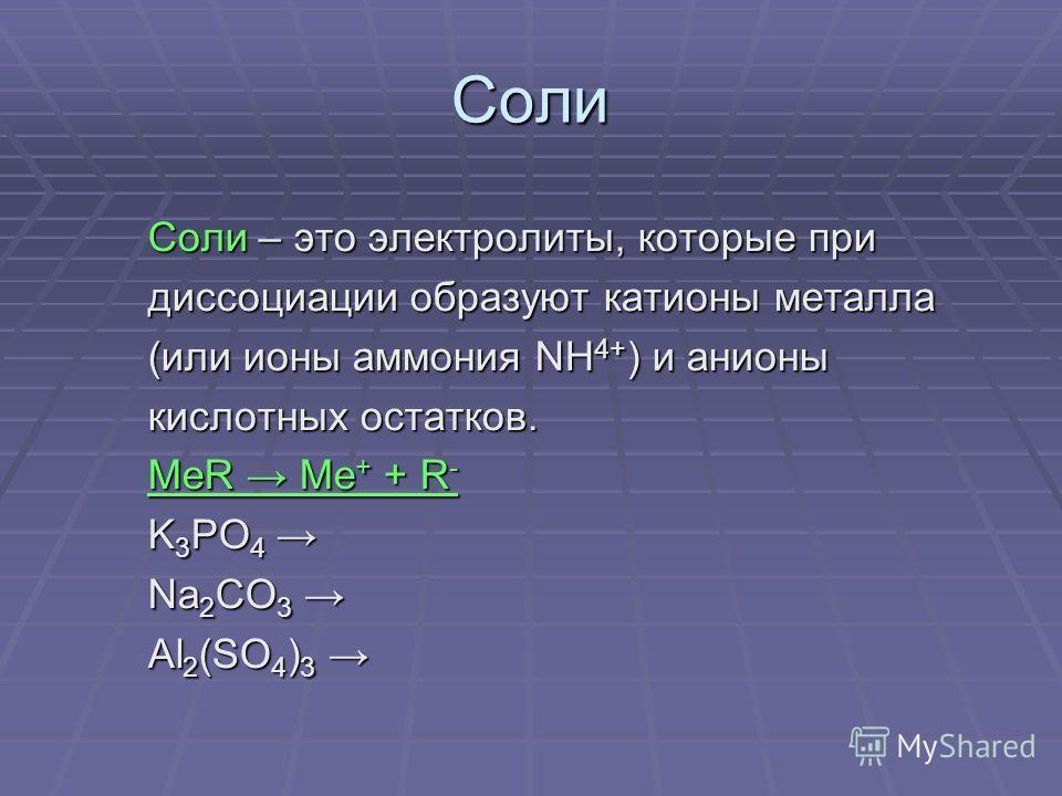Соли Соли – это электролиты, которые при Соли – это электролиты, которые при диссоциации образуют катионы металла диссоциации образуют катионы металла (или ионы аммония NH 4+ ) и анионы (или ионы аммония NH 4+ ) и анионы кислотных остатков. кислотных