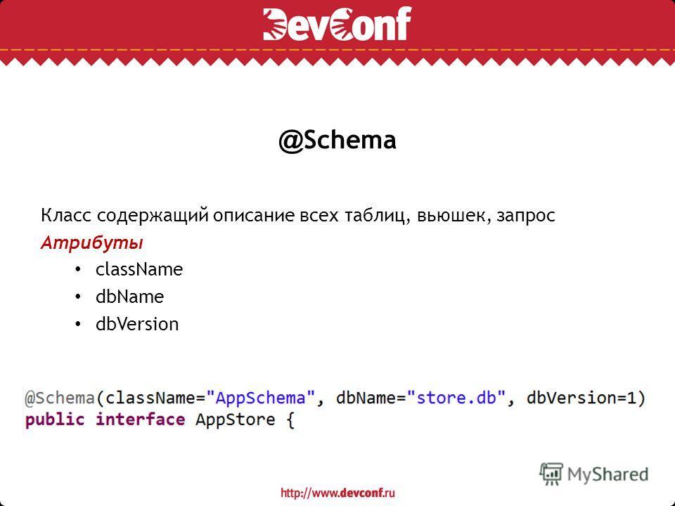 @ Schema Класс содержащий описание всех таблиц, вьюшек, запрос Атрибуты className dbName dbVersion