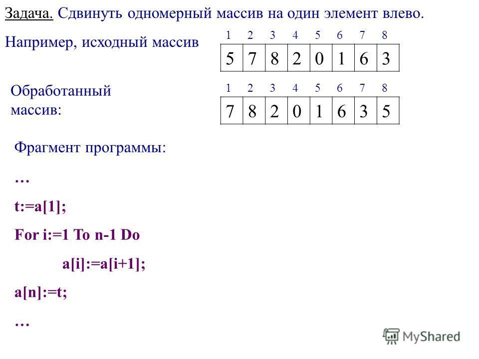 Задача. Сдвинуть одномерный массив на один элемент влево. Например, исходный массив 12345678 57820163 Обработанный массив: 12345678 78201635 Фрагмент программы: … t:=a[1]; For i:=1 To n-1 Do a[i]:=a[i+1]; a[n]:=t; …