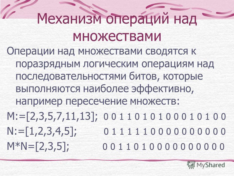 Механизм операций над множествами Операции над множествами сводятся к поразрядным логическим операциям над последовательностями битов, которые выполняются наиболее эффективно, например пересечение множеств: M:=[2,3,5,7,11,13]; 0 0 1 1 0 1 0 1 0 0 0 1