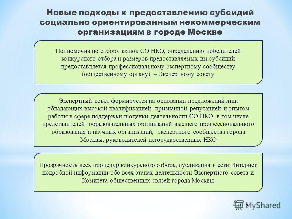 Новые подходы к предоставлению субсидий социально ориентированным некоммерческим организациям в городе Москве Экспертный совет формируется на основании предложений лиц, обладающих высокой квалификацией, признанной репутацией и опытом работы в сфере п