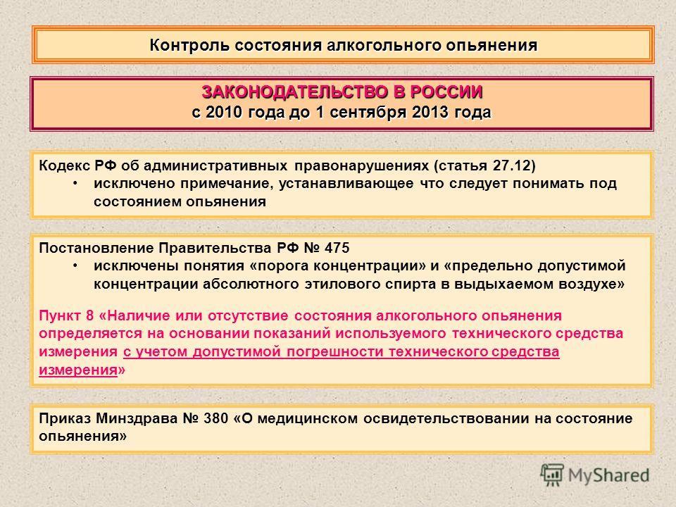 Контроль состояния алкогольного опьянения Кодекс РФ об административных правонарушениях (статья 27.12) исключено примечание, устанавливающее что следует понимать под состоянием опьянения ЗАКОНОДАТЕЛЬСТВО В РОССИИ с 2010 года до 1 сентября 2013 года П