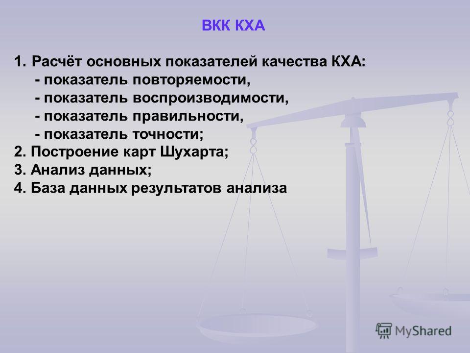 ВКК КХА 1.Расчёт основных показателей качества КХА: - показатель повторяемости, - показатель воспроизводимости, - показатель правильности, - показатель точности; 2. Построение карт Шухарта; 3. Анализ данных; 4. База данных результатов анализа