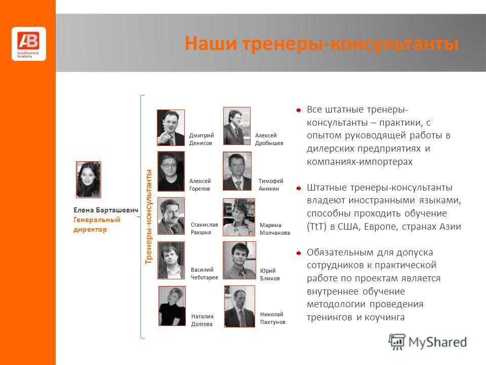 Все штатные тренеры- консультанты – практики, с опытом руководящей работы в дилерских предприятиях и компаниях-импортерах Штатные тренеры-консультанты владеют иностранными языками, способны проходить обучение (TtT) в США, Европе, странах Азии Обязате
