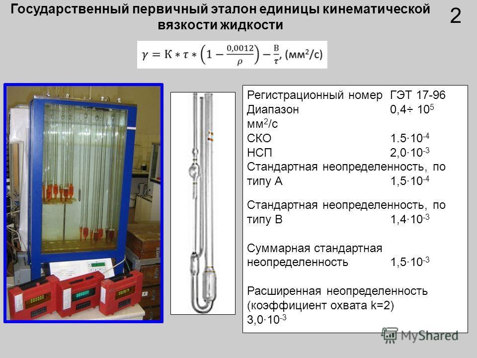 Государственный первичный эталон единицы кинематической вязкости жидкости Регистрационный номер ГЭТ 17-96 Диапазон0,4÷ 10 5 мм 2 /с СКО1.5·10 -4 НСП 2,0·10 -3 Стандартная неопределенность, по типу А 1,5·10 -4 Стандартная неопределенность, по типу В 1