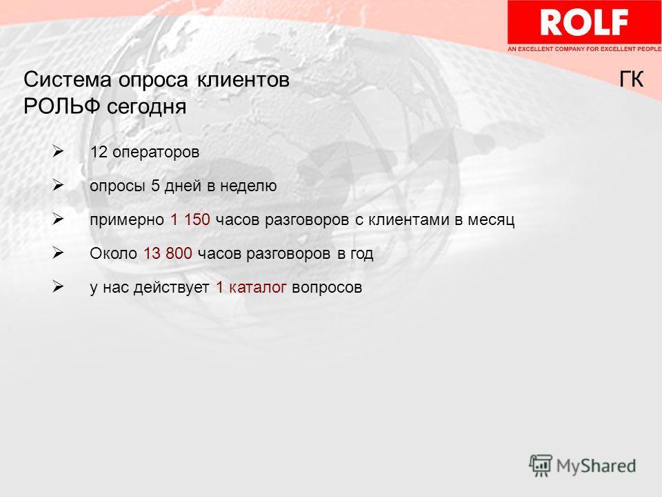 Система опроса клиентов ГК РОЛЬФ сегодня 12 операторов опросы 5 дней в неделю примерно 1 150 часов разговоров с клиентами в месяц Около 13 800 часов разговоров в год у нас действует 1 каталог вопросов