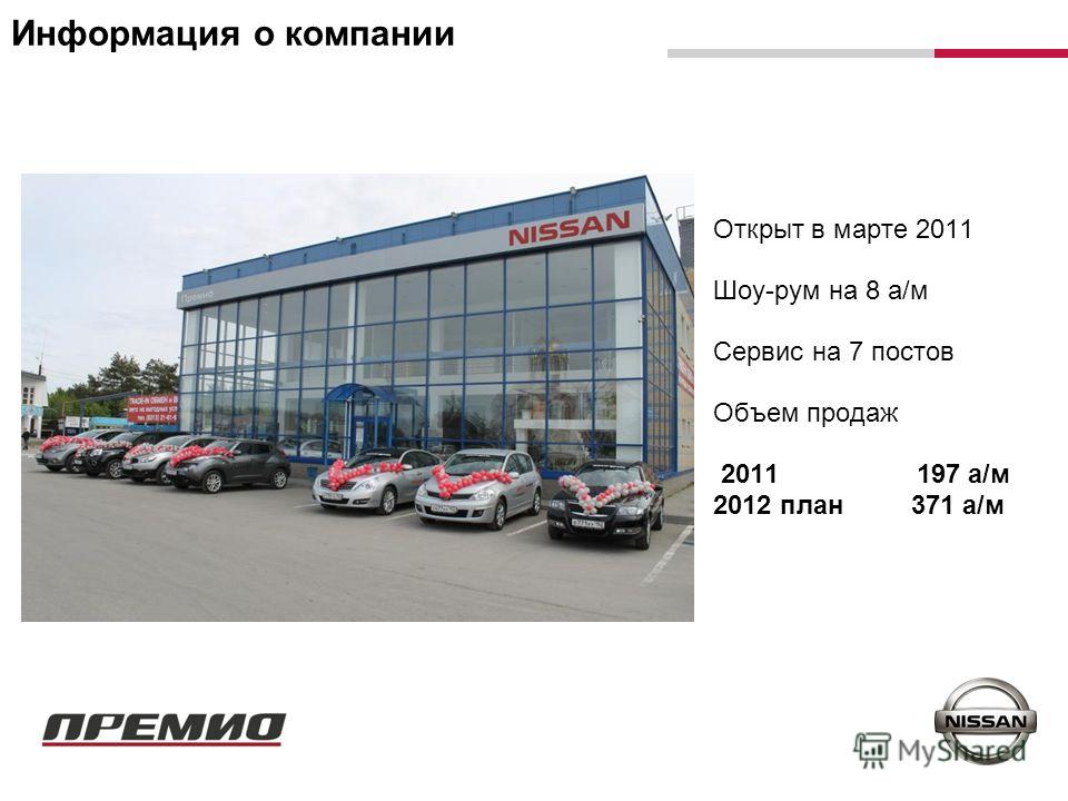 Информация о компании Открыт в марте 2011 Шоу-рум на 8 а/м Сервис на 7 постов Объем продаж 2011 197 а/м 2012 план 371 а/м
