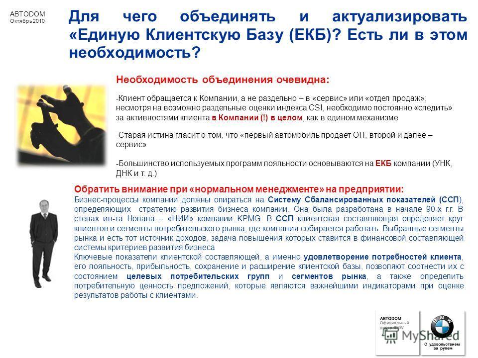 ABTODOM Октябрь 2010 Для чего объединять и актуализировать «Единую Клиентскую Базу (ЕКБ)? Есть ли в этом необходимость? Обратить внимание при «нормальном менеджменте» на предприятии: Бизнес-процессы компании должны опираться на Систему Сбалансированн