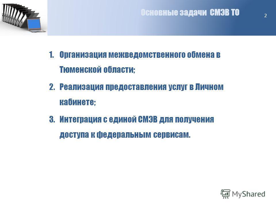 Основные задачи СМЭВ ТО 2 1.Организация межведомственного обмена в Тюменской области; 2.Реализация предоставления услуг в Личном кабинете; 3.Интеграция с единой СМЭВ для получения доступа к федеральным сервисам.