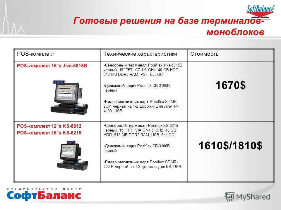 Готовые решения на базе терминалов- моноблоков POS-комплектТехнические характеристикиСтоимость POS-комплект 15
