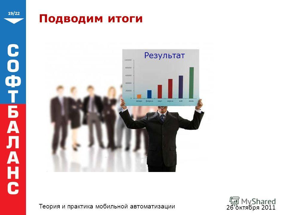 19/22 Теория и практика мобильной автоматизации Подводим итоги 26 октября 2011 Результат