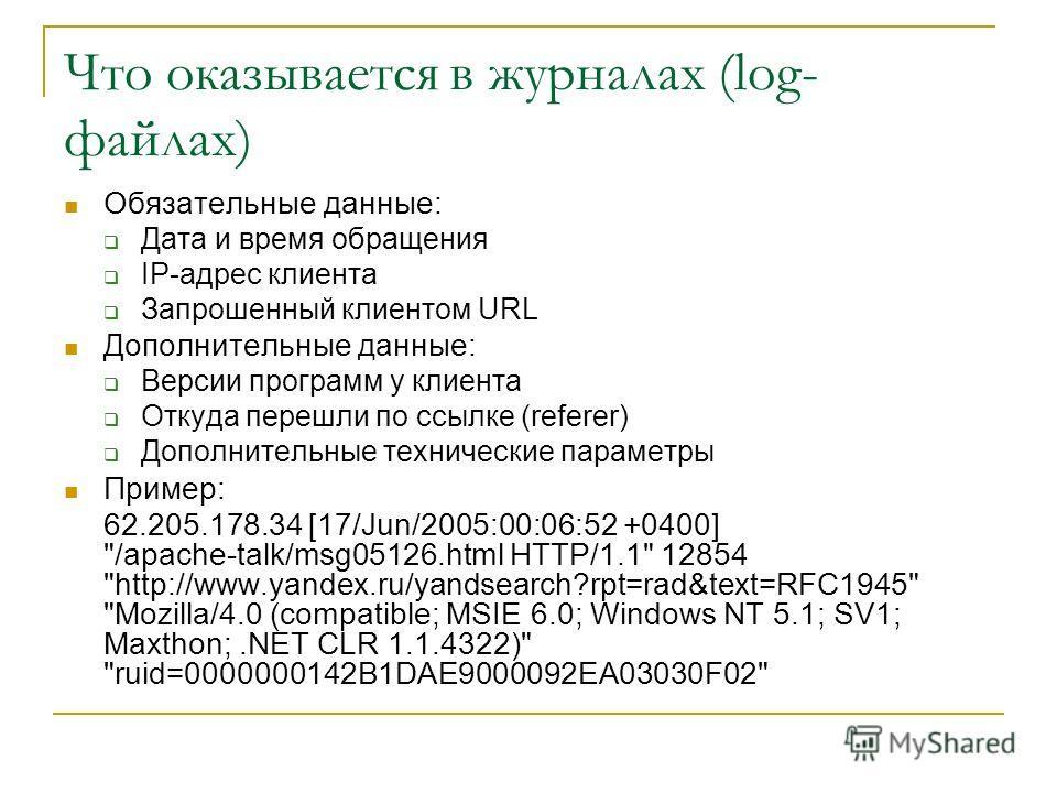 Что оказывается в журналах (log- файлах) Обязательные данные: Дата и время обращения IP-адрес клиента Запрошенный клиентом URL Дополнительные данные: Версии программ у клиента Откуда перешли по ссылке (referer) Дополнительные технические параметры Пр