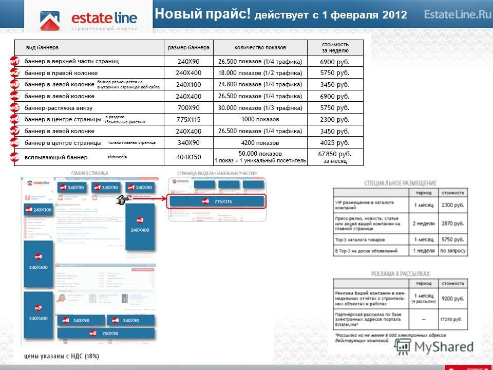Новый прайс! действует с 1 февраля 2012