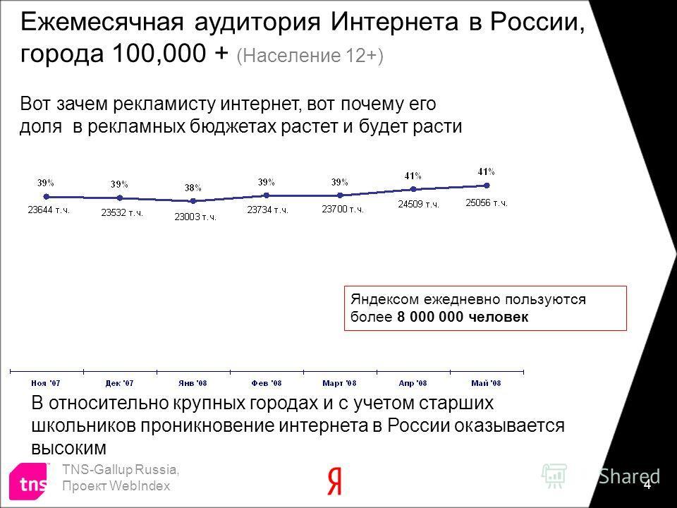 4 Ежемесячная аудитория Интернета в России, города 100,000 + (Население 12+) TNS-Gallup Russia, Проект WebIndex В относительно крупных городах и с учетом старших школьников проникновение интернета в России оказывается высоким Вот зачем рекламисту инт