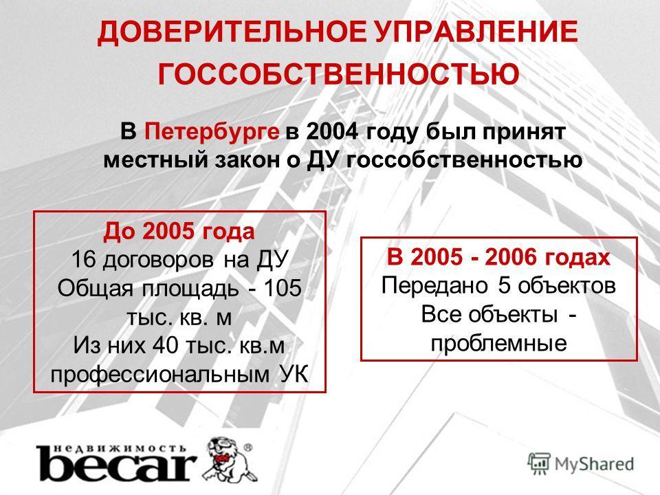ДОВЕРИТЕЛЬНОЕ УПРАВЛЕНИЕ ГОССОБСТВЕННОСТЬЮ В Петербурге в 2004 году был принят местный закон о ДУ госсобственностью До 2005 года 16 договоров на ДУ Общая площадь - 105 тыс. кв. м Из них 40 тыс. кв.м профессиональным УК В 2005 - 2006 годах Передано 5