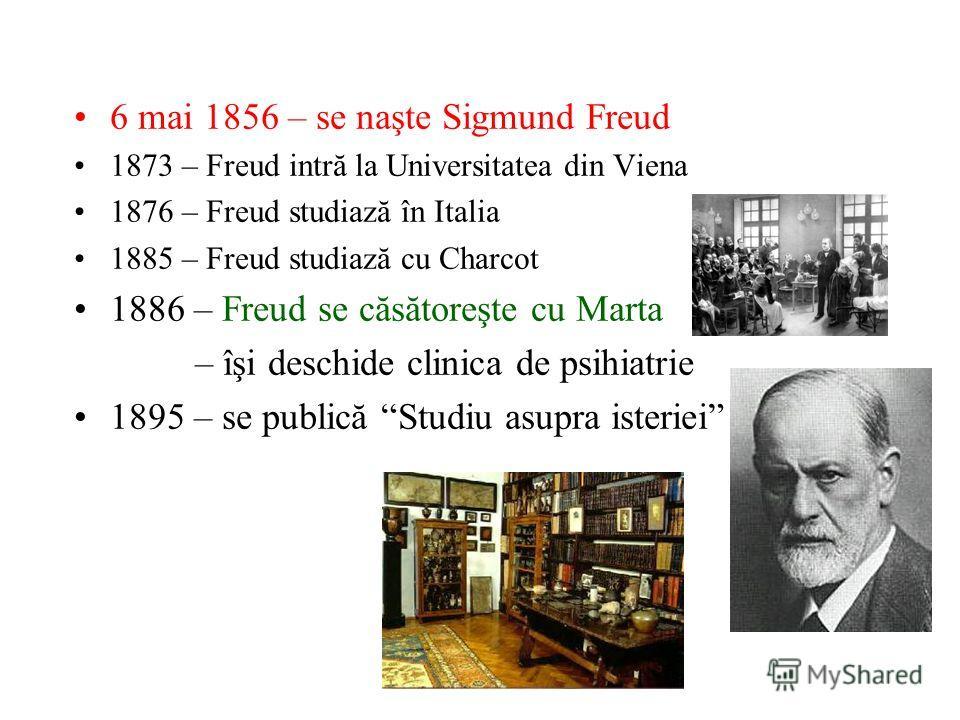 6 mai 1856 – se naşte Sigmund Freud 1873 – Freud intră la Universitatea din Viena 1876 – Freud studiază în Italia 1885 – Freud studiază cu Charcot 1886 – Freud se căsătoreşte cu Marta – îşi deschide clinica de psihiatrie 1895 – se publică Studiu asup
