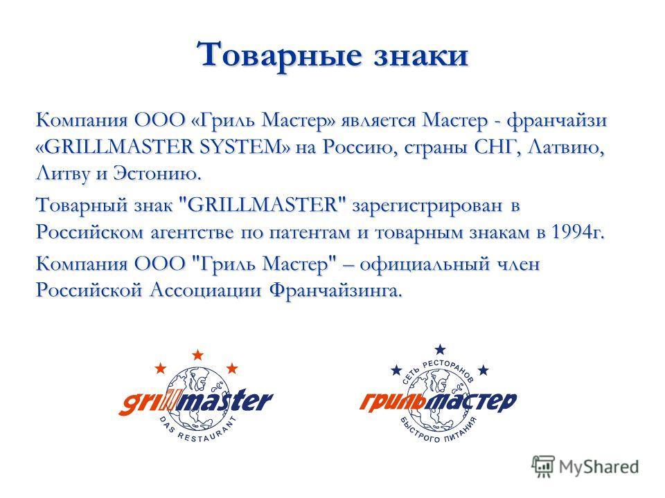 Товарные знаки Компания ООО «Гриль Мастер» является Мастер - франчайзи «GRILLMASTER SYSTEM» на Россию, страны СНГ, Латвию, Литву и Эстонию. Товарный знак