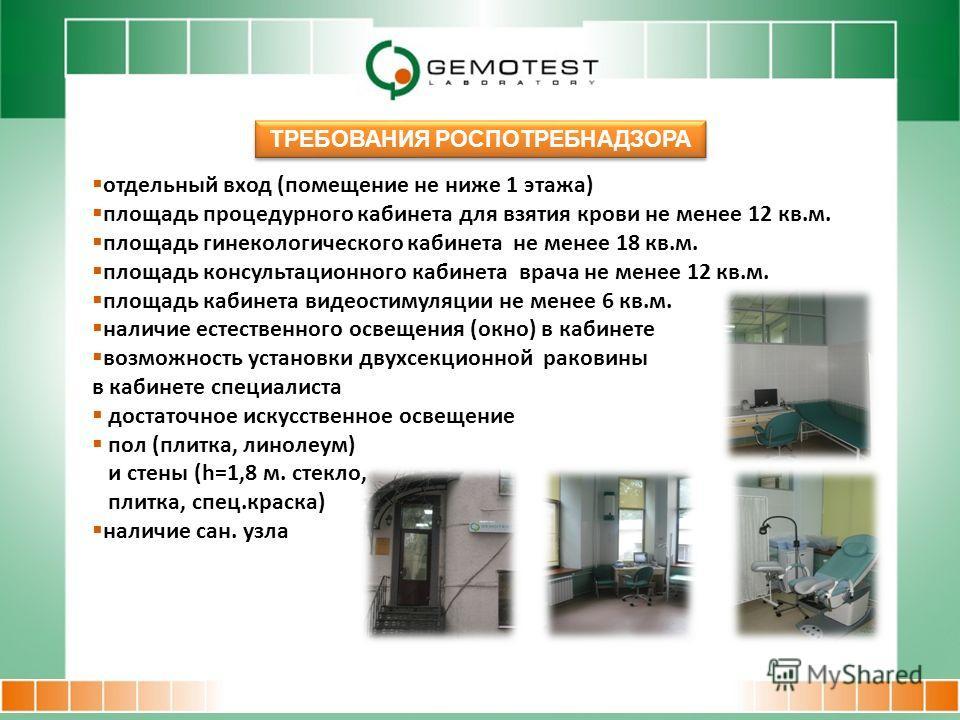 отдельный вход (помещение не ниже 1 этажа) площадь процедурного кабинета для взятия крови не менее 12 кв.м. площадь гинекологического кабинета не менее 18 кв.м. площадь консультационного кабинета врача не менее 12 кв.м. площадь кабинета видеостимуляц