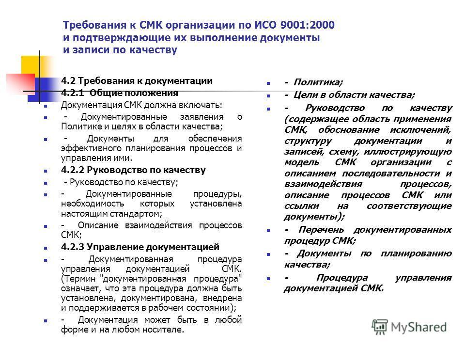 Требования к СМК организации по ИСО 9001:2000 и подтверждающие их выполнение документы и записи по качеству 4.2 Требования к документации 4.2.1 Общие положения Документация СМК должна включать: - Документированные заявления о Политике и целях в облас