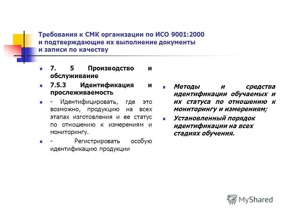 Требования к СМК организации по ИСО 9001:2000 и подтверждающие их выполнение документы и записи по качеству 7. 5 Производство и обслуживание 7.5.3 Идентификация и прослеживаемость - Идентифицировать, где это возможно, продукцию на всех этапах изготов