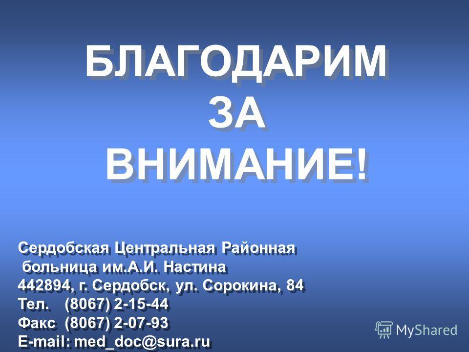 БЛАГОДАРИМ ЗА ВНИМАНИЕ! БЛАГОДАРИМ ЗА ВНИМАНИЕ! Сердобская Центральная Районная больница им.А.И. Настина 442894, г. Сердобск, ул. Сорокина, 84 Тел. (8067) 2-15-44 Факс (8067) 2-07-93 E-mail: med_doc@sura.ru Сердобская Центральная Районная больница им