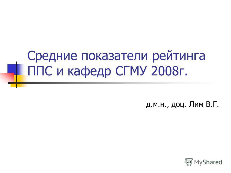 Средние показатели рейтинга ППС и кафедр СГМУ 2008г. д.м.н., доц. Лим В.Г.