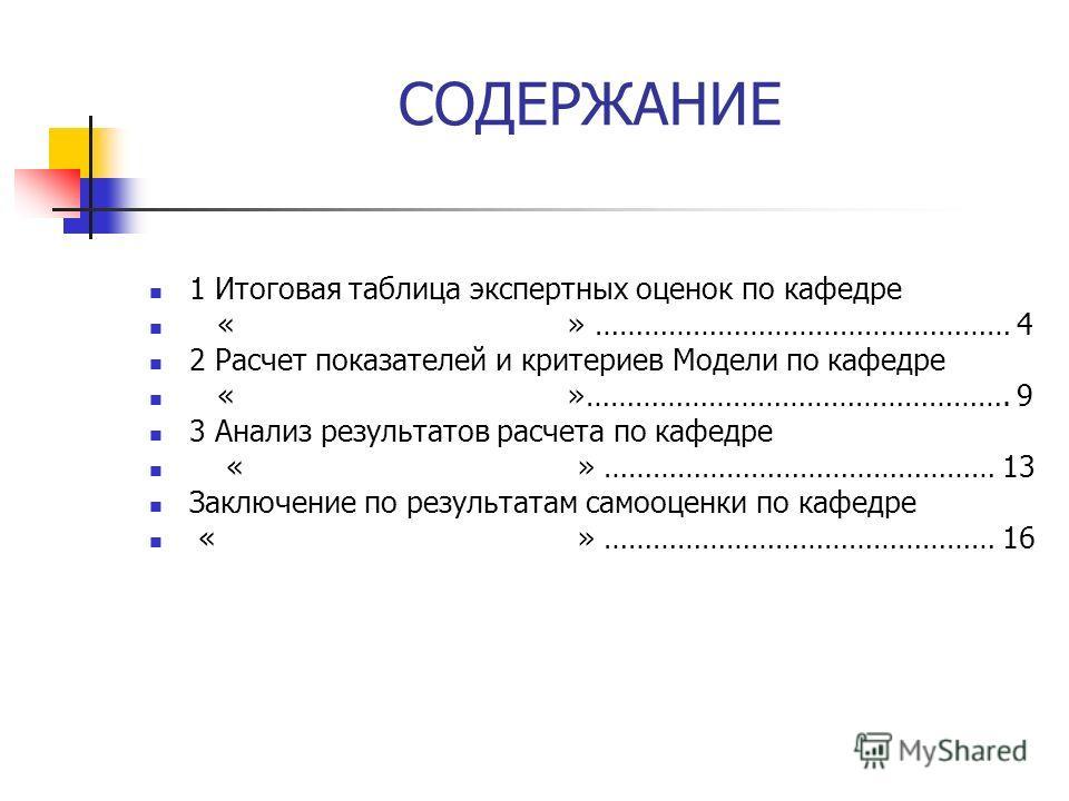 СОДЕРЖАНИЕ 1 Итоговая таблица экспертных оценок по кафедре « » …………………………………………… 4 2 Расчет показателей и критериев Модели по кафедре « »……………………………………………. 9 3 Анализ результатов расчета по кафедре « » ………………………………………… 13 Заключение по результатам са