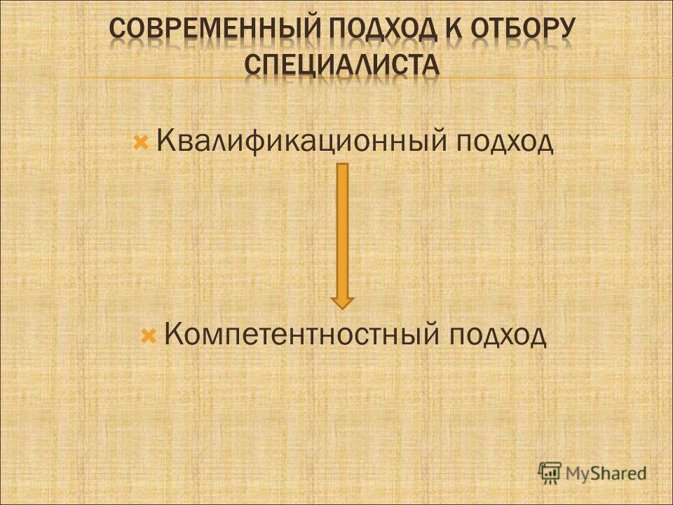 Квалификационный подход Компетентностный подход