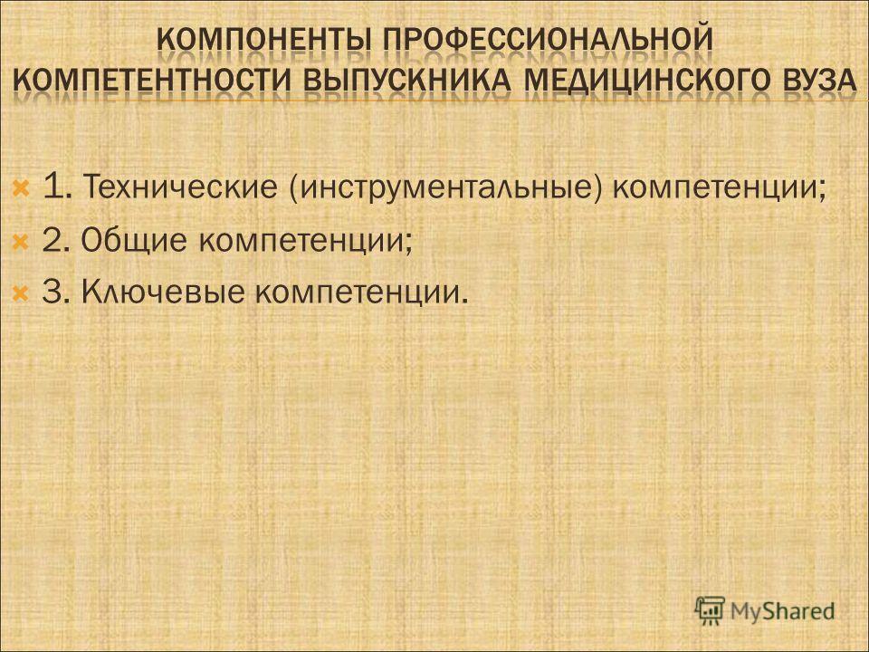1. Технические (инструментальные) компетенции; 2. Общие компетенции; 3. Ключевые компетенции.