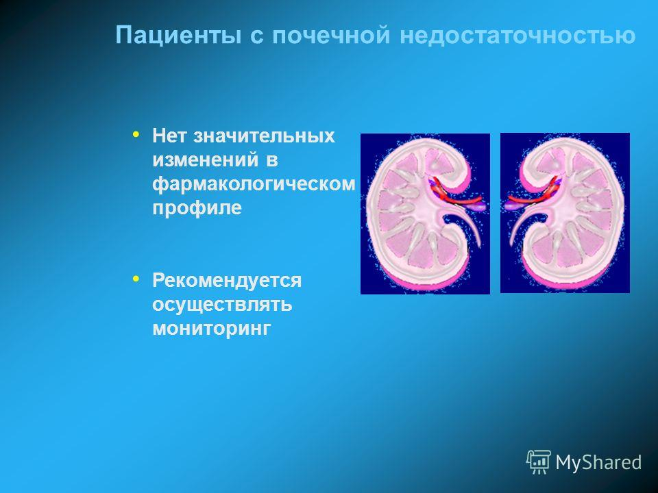 Пациенты с почечной недостаточностью Нет значительных изменений в фармакологическом профиле Рекомендуется осуществлять мониторинг