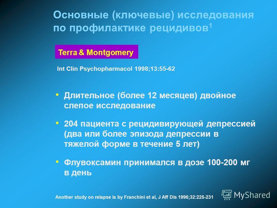 Длительное (более 12 месяцев) двойное слепое исследование 204 пациента с рецидивирующей депрессией (два или более эпизода депрессии в тяжелой форме в течение 5 лет) Флувоксамин принимался в дозе 100-200 мг в день Terra & Montgomery Int Clin Psychopha