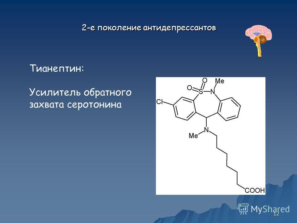 12 2-е поколение антидепрессантов Тианептин: Усилитель обратного захвата серотонина