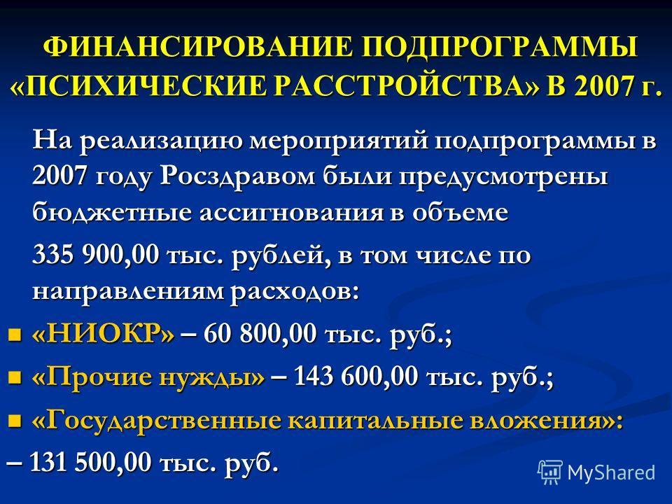 ФИНАНСИРОВАНИЕ ПОДПРОГРАММЫ «ПСИХИЧЕСКИЕ РАССТРОЙСТВА» В 2007 г. ФИНАНСИРОВАНИЕ ПОДПРОГРАММЫ «ПСИХИЧЕСКИЕ РАССТРОЙСТВА» В 2007 г. На реализацию мероприятий подпрограммы в 2007 году Росздравом были предусмотрены бюджетные ассигнования в объеме 335 900