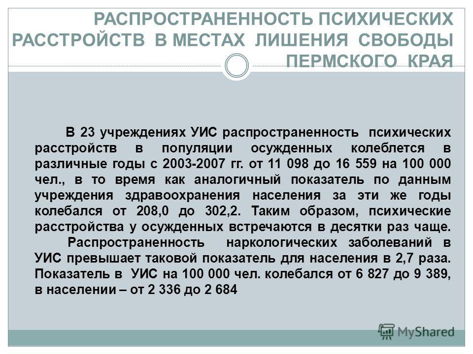 РАСПРОСТРАНЕННОСТЬ ПСИХИЧЕСКИХ РАССТРОЙСТВ В МЕСТАХ ЛИШЕНИЯ СВОБОДЫ ПЕРМСКОГО КРАЯ В 23 учреждениях УИС распространенность психических расстройств в популяции осужденных колеблется в различные годы с 2003-2007 гг. от 11 098 до 16 559 на 100 000 чел.,