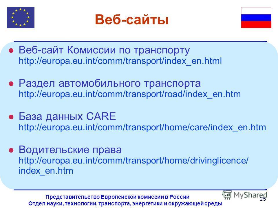 Отдел науки, технологии, транспорта, энергетики и окружающей среды Представительство Европейской комиссии в России 25 Веб-сайты l Веб-сайт Комиссии по транспорту http://europa.eu.int/comm/transport/index_en.html l Раздел автомобильного транспорта htt
