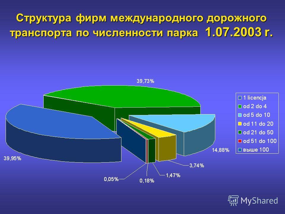 Структура фирм международного дорожного транспорта по численности парка 1.07.2003 r.