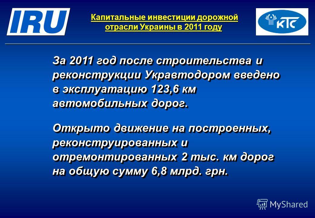 Капитальные инвестиции дорожной отрасли Украины в 2011 году Капитальные инвестиции дорожной отрасли Украины в 2011 году За 2011 год после строительства и реконструкции Укравтодором введено в эксплуатацию 123,6 км автомобильных дорог. Открыто движение