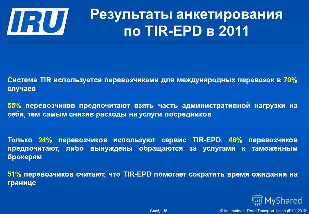 Результаты анкетирования по TIR-EPD в 2011 Система TIR используется перевозчиками для международных перевозок в 70% случаев 55% перевозчиков предпочитают взять часть административной нагрузки на себя, тем самым снизив расходы на услуги посредников То