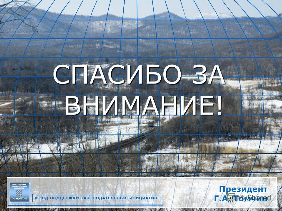 16 СПАСИБО ЗА ВНИМАНИЕ! ФОНД ПОДДЕРЖКИ ЗАКОНОДАТЕЛЬНЫХ ИНИЦИАТИВ Президент Г.А. Томчин